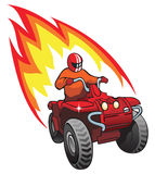 Quadrocycle rider. Quadrocycle, rider on 4 wheel motorbike, with flame behind, vector illustration Royalty Free Stock Image