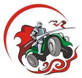 Quadrocycler knight. Knight saddling quadrocycle, vector illustration Stock Photos