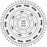 Quadros étnicos tirados mão dos círculos Escovas editáveis do teste padrão ilustração do vetor