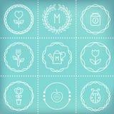 Quadros, ícones, sinais e elementos do esboço para criar etiquetas, logotipos, selos, crachás, monogramas e bandeiras Jardinagem  Imagens de Stock Royalty Free