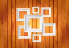 Quadros brancos do vetor no fundo de madeira Foto de Stock