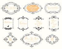 Quadros caligráficos do vintage Fotografia de Stock