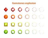 Quadros coloridos da explosão de pedras preciosas dos desenhos animados ilustração do vetor