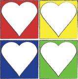 Quadros coloridos do coração Fotografia de Stock Royalty Free
