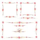 Quadros coloridos e ornamento florais ajustados Imagem de Stock