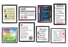 Quadros da motivação das citações ajustados Fotografia de Stock Royalty Free