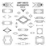 Quadros de Art Deco Vintage e elementos do projeto ilustração stock