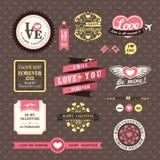 Quadros de etiquetas dos elementos do dia do casamento e de Valentim  ilustração royalty free