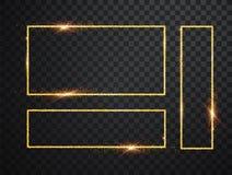 Quadros de incandesc?ncia brilhantes do ouro ajustados com as sombras isoladas no fundo transparente Bloco do quadrado real?stico ilustração do vetor