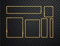 Quadros de incandesc?ncia brilhantes do ouro ajustados com as sombras isoladas no fundo transparente Bloco do quadrado real?stico ilustração stock