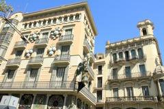 Quadros de la casa en el bulevar Barcelona del Las Ramblas Fotografía de archivo libre de regalías