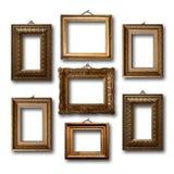 Quadros de madeira dourados para imagens Imagens de Stock