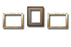 Quadros de madeira dourados para imagens no fundo isolado Imagens de Stock