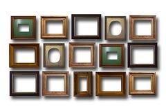 Quadros de madeira dourados para imagens no fundo isolado Imagens de Stock Royalty Free