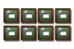 Quadros de madeira dourados para imagens no fundo isolado Fotografia de Stock Royalty Free