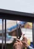 Quadros de porta da soldadura do trabalhador Imagem de Stock