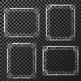 Quadros de prata com brilho circular da transparência Quadros do retângulo da decoração para sua foto Beira decorativa ilustração do vetor