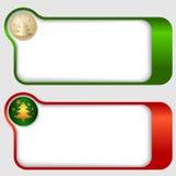 Quadros de texto com uma árvore de Natal Fotografia de Stock Royalty Free