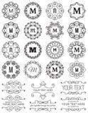 Quadros do círculo do vintage & elementos do projeto Imagens de Stock