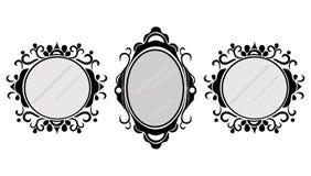 Quadros do espelho do vintage ajustados Vector a coleção de circularmente e esquadre quadros do vintage, elemento do projeto ilustração royalty free