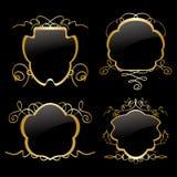 Quadros do ouro com decorações do ouro - grupo Fotografia de Stock Royalty Free