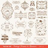Quadros do vintage e bandeiras, elementos caligráficos Fotografia de Stock