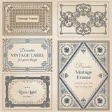 Quadros do vintage e elementos do projeto Fotos de Stock