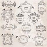 Quadros do vintage e elementos do projeto para wedding Fotografia de Stock Royalty Free