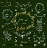 Quadros do vintage e floral handdrawn Imagem de Stock Royalty Free