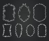 Quadros dos ramos da garatuja do quadro ajustados Grinalda Imagens de Stock