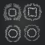 Quadros dos ramos da garatuja do quadro ajustados Grinalda Fotos de Stock