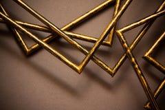 Quadros dourados no fundo cinzento Fotos de Stock