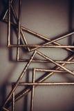 Quadros dourados no fundo cinzento Foto de Stock