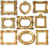 Quadros dourados sem sombras isoladas no fundo branco Fotos de Stock Royalty Free