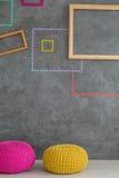 Quadros e pufes coloridos Imagens de Stock Royalty Free