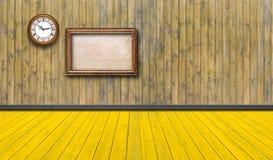 Quadros e relógio vazios do vintage contra uma parede de madeira imagens de stock