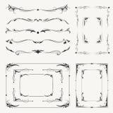 Quadros e vinhetas caligráficos do vetor ilustração stock