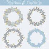 Quadros florais do Natal ajustados Imagem de Stock Royalty Free