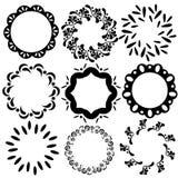 Quadros florais do vetor e geométricos simples do círculo Foto de Stock Royalty Free