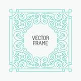 Quadros florais do vetor na mono linha estilo Imagem de Stock