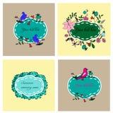 Quadros florais e dos pássaros ajustados Imagens de Stock