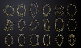 Quadros geométricos do ouro para dourado luxuoso do cartão do convite do casamento na forma do diamante Sumário da folha de ouro  ilustração royalty free
