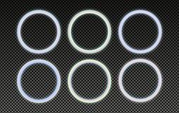 Quadros holográficos circulares ajustados no estilo psicadélico do vaporwave Elementos de néon de incandescência do projeto ilustração royalty free