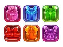 Quadros lustrosos coloridos com caixas de presente de época natalícia Foto de Stock Royalty Free