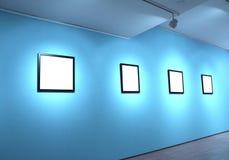 Quadros no museu de arte branco da parede Fotografia de Stock Royalty Free