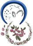Quadros redondos com flores, folhas, detalhes da joia e bordados ilustração do vetor