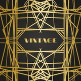 Quadros retros do vintage velho com linhas Estilo dos anos 20 Decoração superior dourada real fotos de stock royalty free