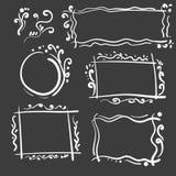 Quadros tirados mão ajustados Quadrado do vetor dos desenhos animados e beiras redondas Formas do efeito do lápis Fotos de Stock Royalty Free