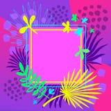 Quadros tropicais da arte das folhas de palmeira Projeto de cartão moderno, curso da escova, plantas exóticas, folheto da tampa,  imagens de stock royalty free