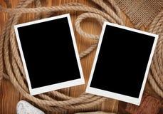 Quadros vazios da foto com corda do navio Imagens de Stock Royalty Free
